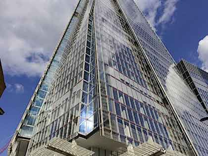 view looking up at The Shard with blue sky background. Our commissioning water treatment services were performed