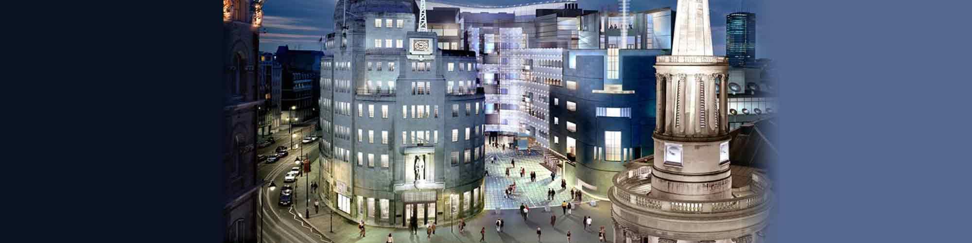 night-time view of BBC studios, London
